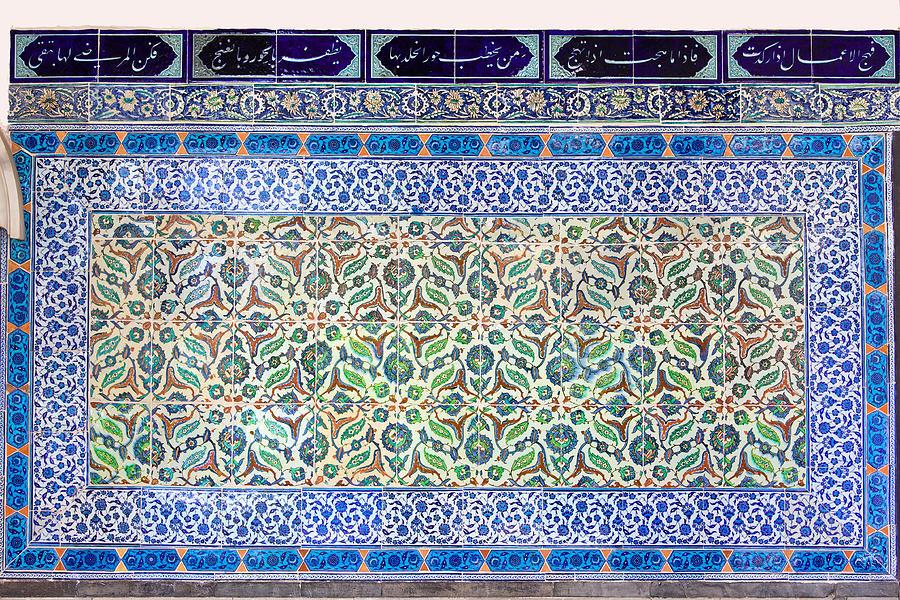 Tile Photograph - Iznik Ceramics With Floral Design by Artur Bogacki