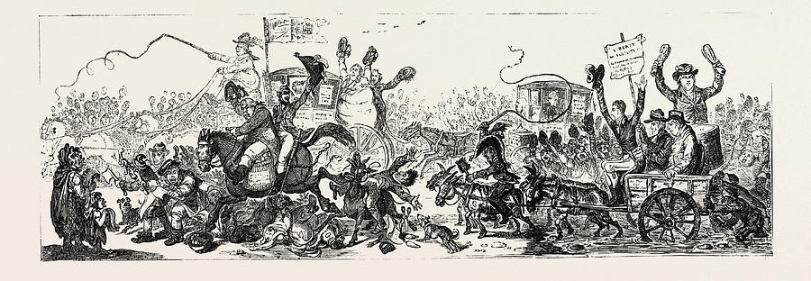 J. Gillray Posting To The Election, A Scene On The Road Drawing by ...