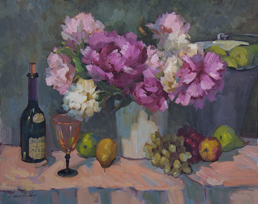 Wine Painting - J. P. Chenet And Peonies by Diane McClary