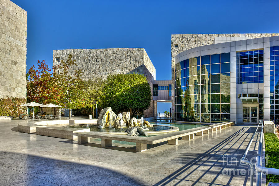 Getty Museum Photograph - J. Paul Getty Museum Courtyard Fountains Blue Veined Marble Boulders Sculpture by David Zanzinger