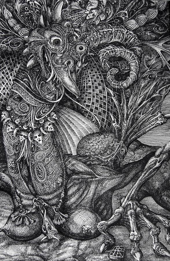 Surrealism Drawing - Jabberwocky by Otto Rapp