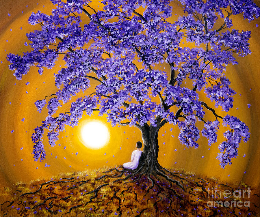 Jacaranda Sunset Meditation Painting By Laura Iverson