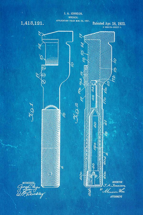 Engineer Photograph - Jack Johnson Wrench Patent Art 1922 Blueprint by Ian Monk
