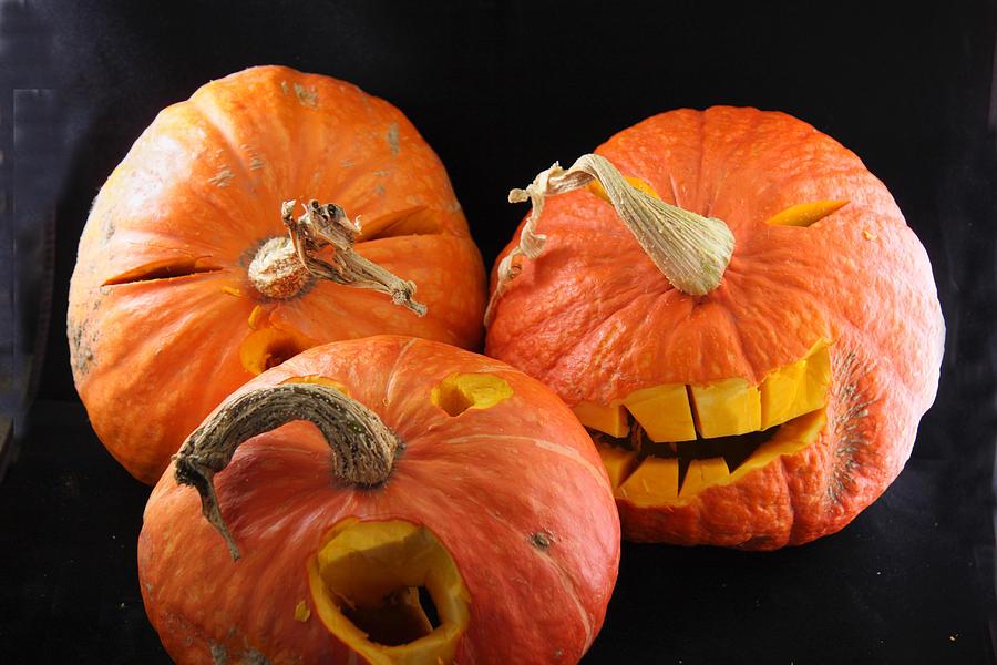 Pumpkin Photograph - Orange Jack-o-lanterns Anticipating Halloween by Michael Riley