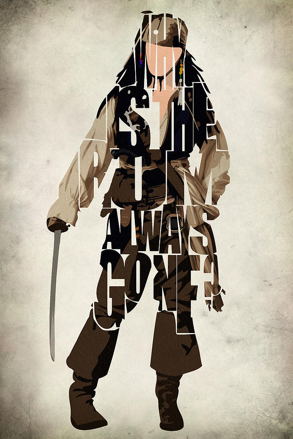 Jack Sparrow Painting - Jack Sparrow Inspired Pirates Of The Caribbean Typographic Poster by Ayse and Deniz