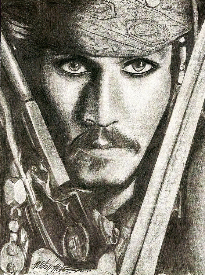 Jack Sparrow Drawing - Jack Sparrow by Michael Mestas