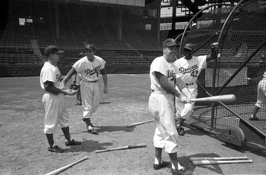 Marvin Newman Photograph - Jackie Robinson And Duke Snider  by Retro Images Archive
