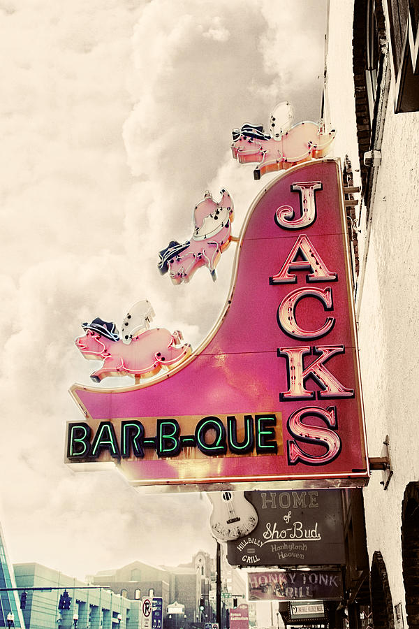 Sign Photograph - Jacks Bbq by Amy Tyler