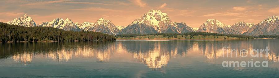 Panorama Photograph - Jackson Lake Sunrise - Grand Teton by Sandra Bronstein