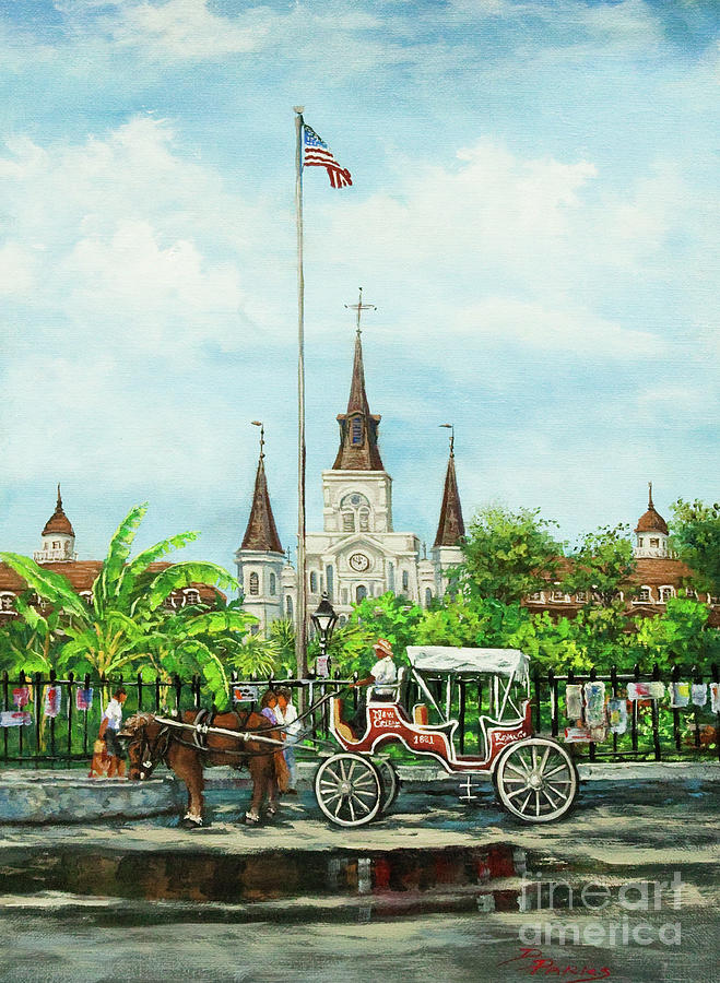 St Louis Cathedral Painting - Jackson Square Carriage by Dianne Parks