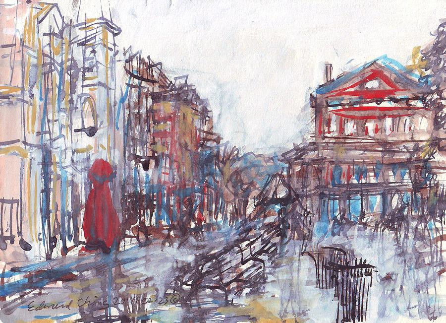 Jackson Drawing - Jackson Square French Quarter by Edward Ching