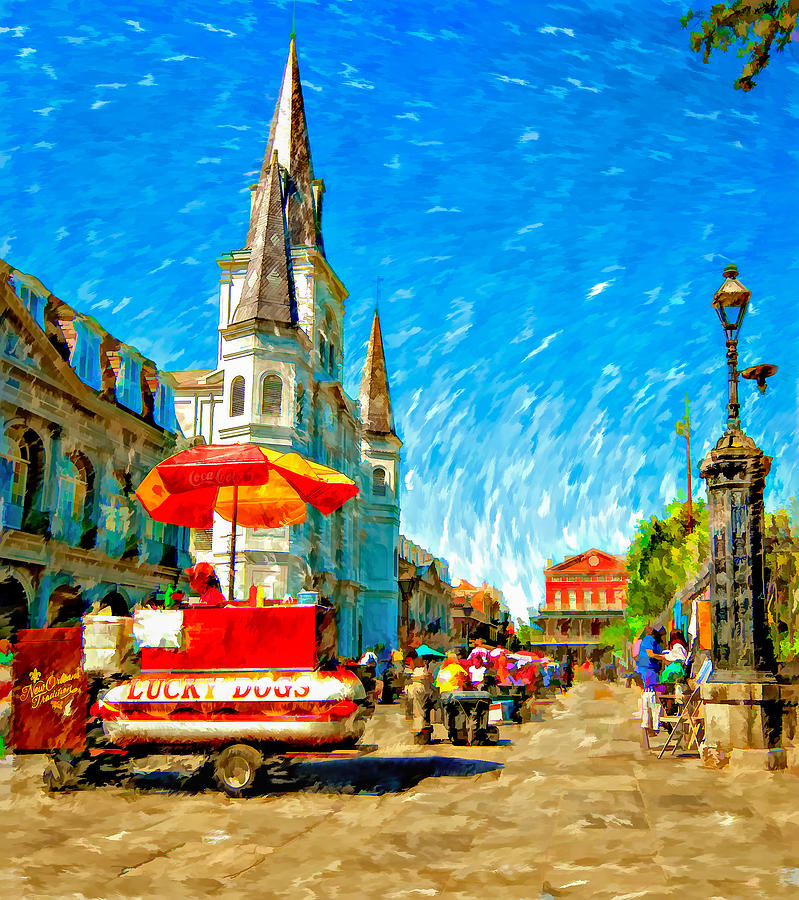 French Quarter Photograph - Jackson Square Painted Version by Steve Harrington