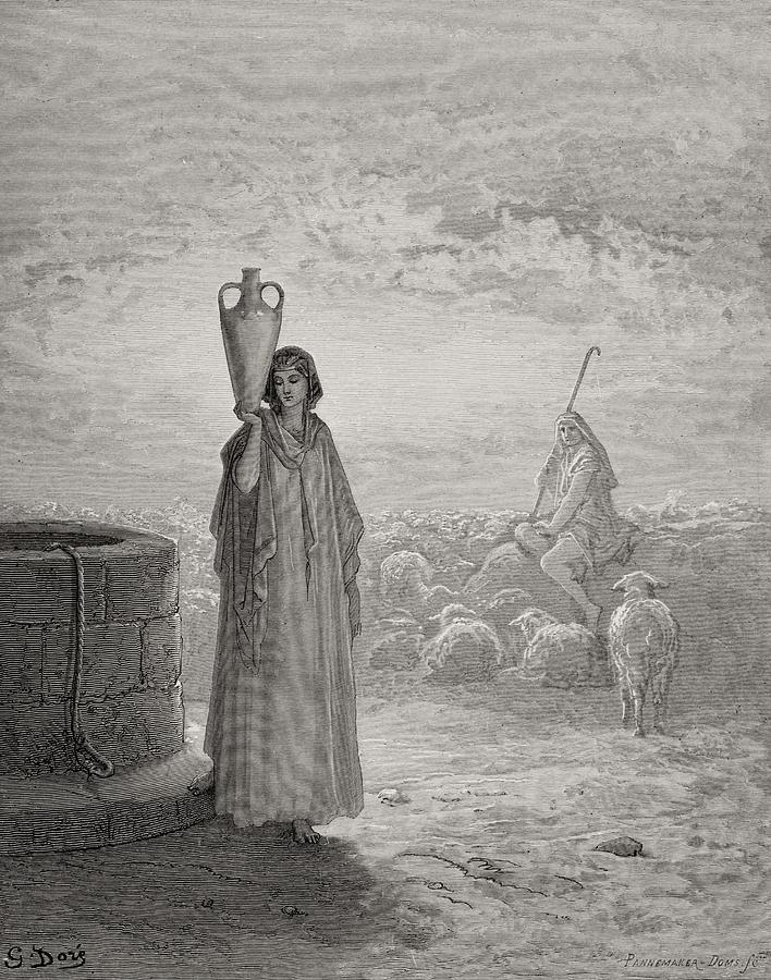Rachel Painting - Jacob Keeping Labans Flock by Gustave Dore