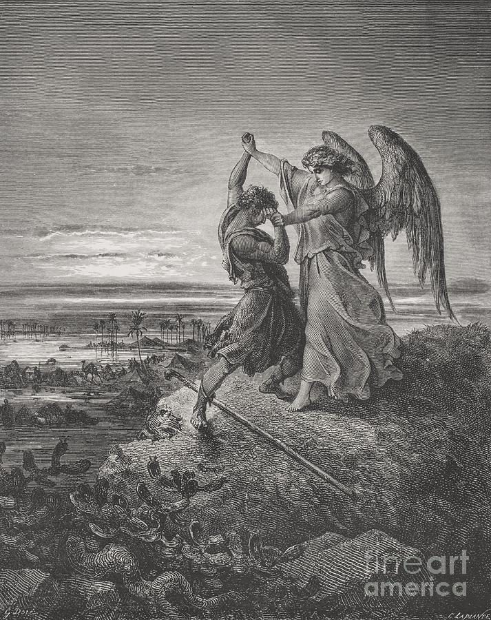 Wrestle Painting - Jacob Wrestling With The Angel by Gustave Dore