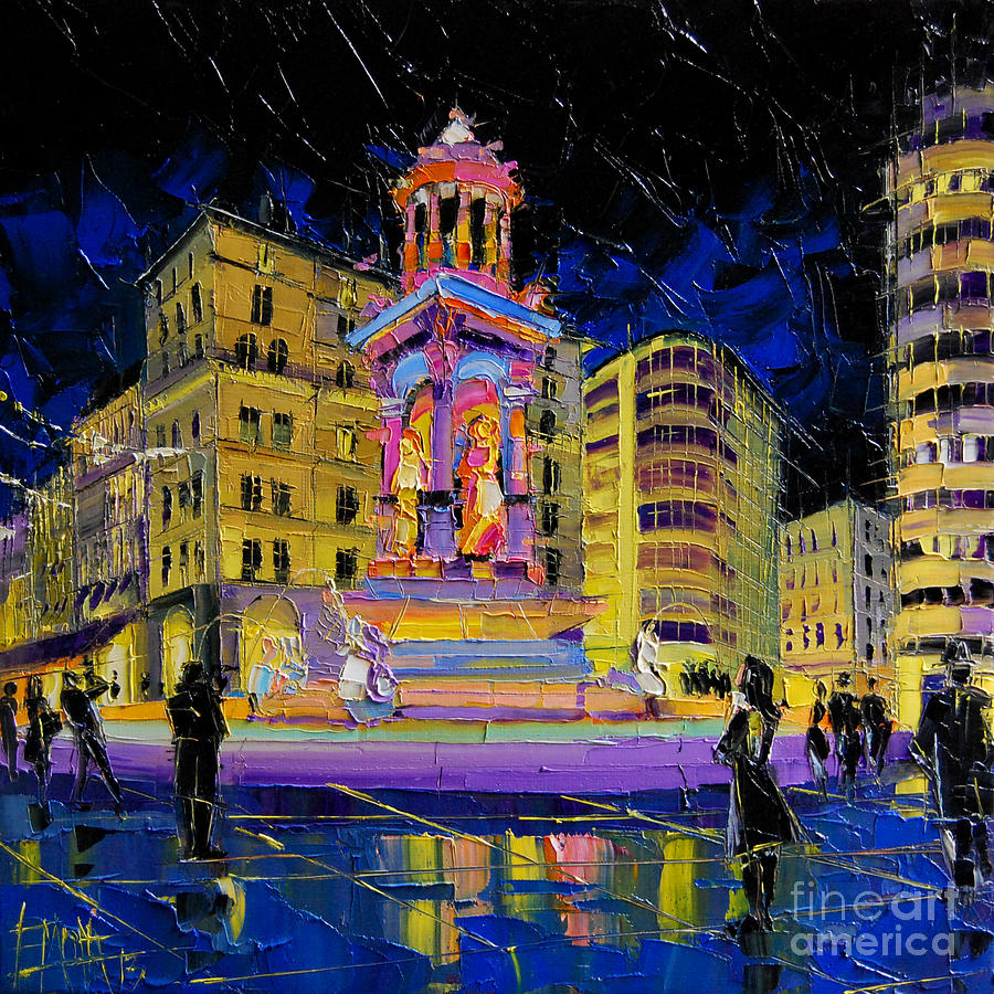 Square Painting - Jacobins Fountain During The Festival Of Lights In Lyon France  by Mona Edulesco