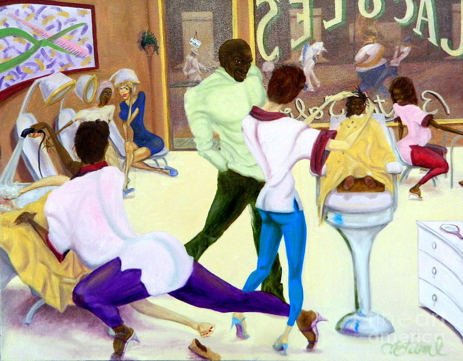 Jacole 39 s beauty salon painting by clifford etienne for 3rd dimension salon