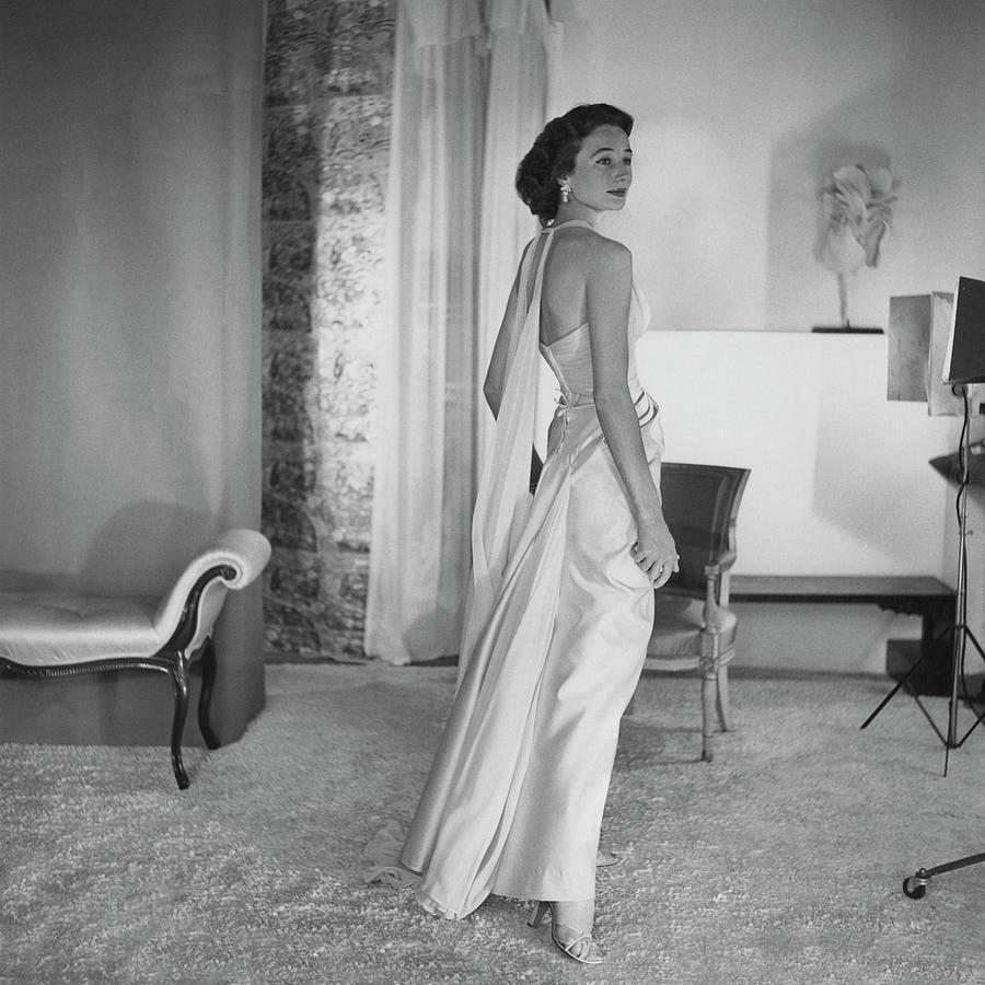 Full Length Photograph - Jacqueline De Ribes Wearing A Desses Dress by Horst P. Horst