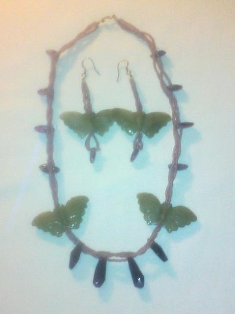 Butterflies Jewelry - Jade Butterflies Together by Lyras Prism