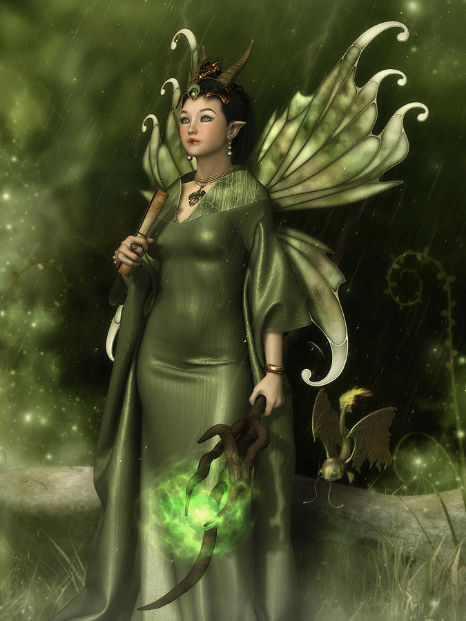 Faery Digital Art - Jade Faery Queen by Rachel Dudley