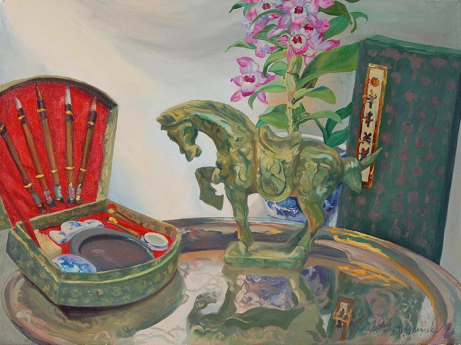 Asia Painting - Jade horse by Christine Lytwynczuk