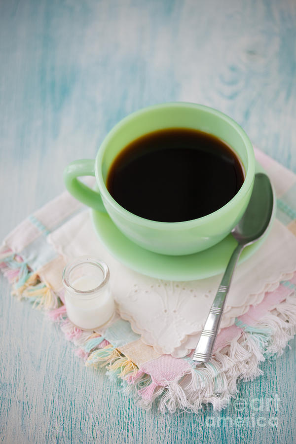 Coffee Photograph - Jadite Coffee Cup by Kay Pickens