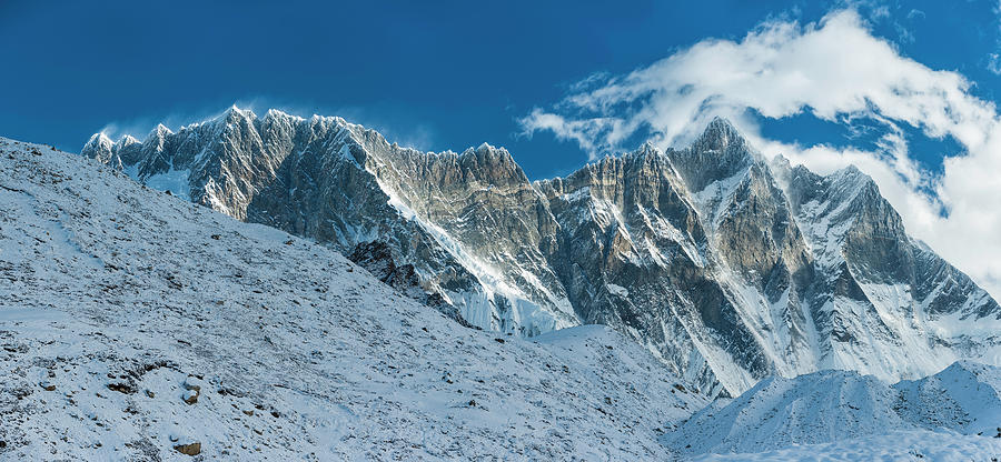 Jagged Mountain Peaks Nuptse Lhotse Photograph by Fotovoyager