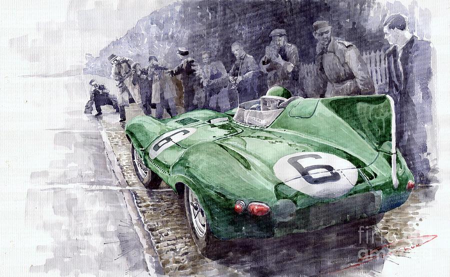 Watercolor Painting - Jaguar D-TYPE  1955 Le Mans  by Yuriy Shevchuk