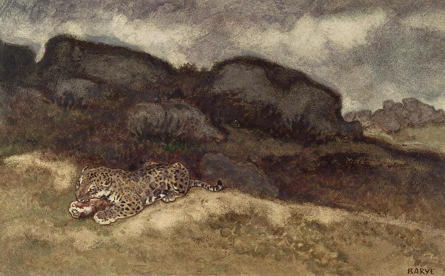Wild Painting - Jaguar Devouring Its Prey by Antoine Louis Barye