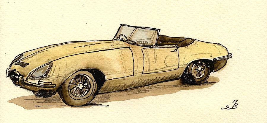 Jaguar Painting - Jaguar e type cabrio by Juan  Bosco