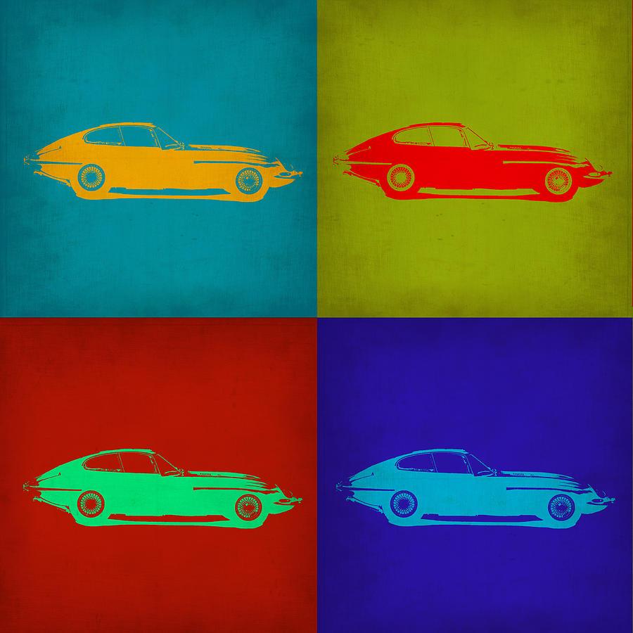Jaguar E Type Painting - Jaguar E Type Pop Art 1 by Naxart Studio