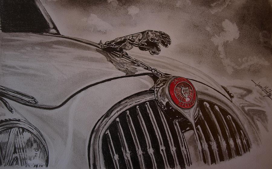 Car Drawing - Jaguar Mk II Bonnet by Juan Mendez