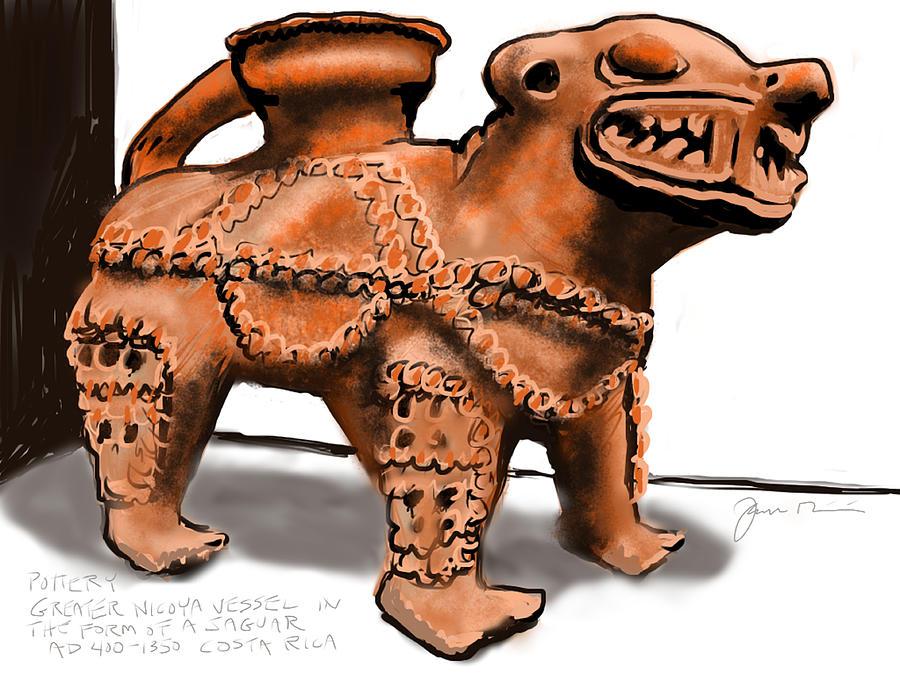 Pottery Painting - Jaguar Pottery by Jean Pacheco Ravinski
