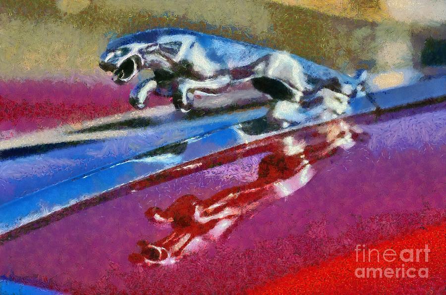 Classic Painting - Jaguar V12 Badge by George Atsametakis