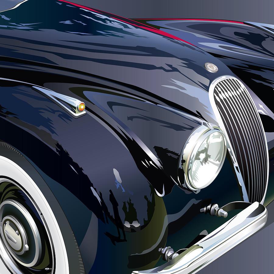 Jaguar Xk 120se R Detail Drawing by Alain Jamar
