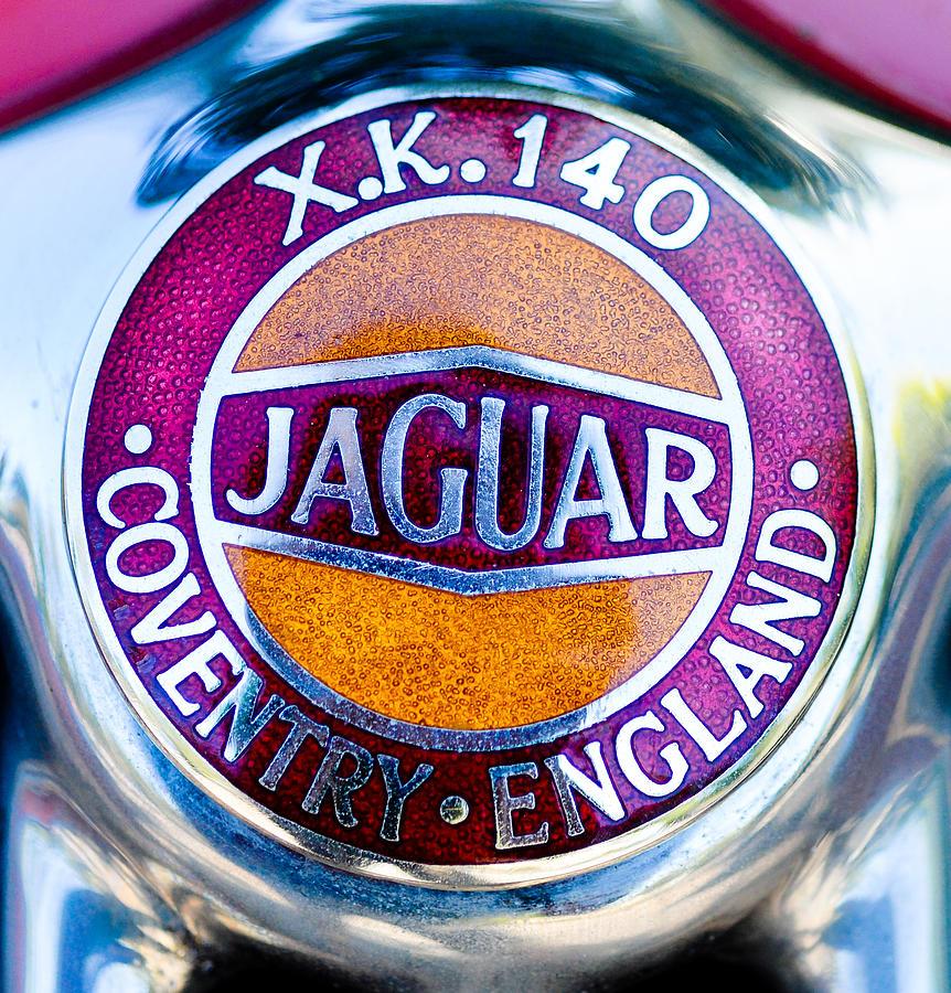 Car Photograph - Jaguar X.k. 140 Logo by Ronda Broatch