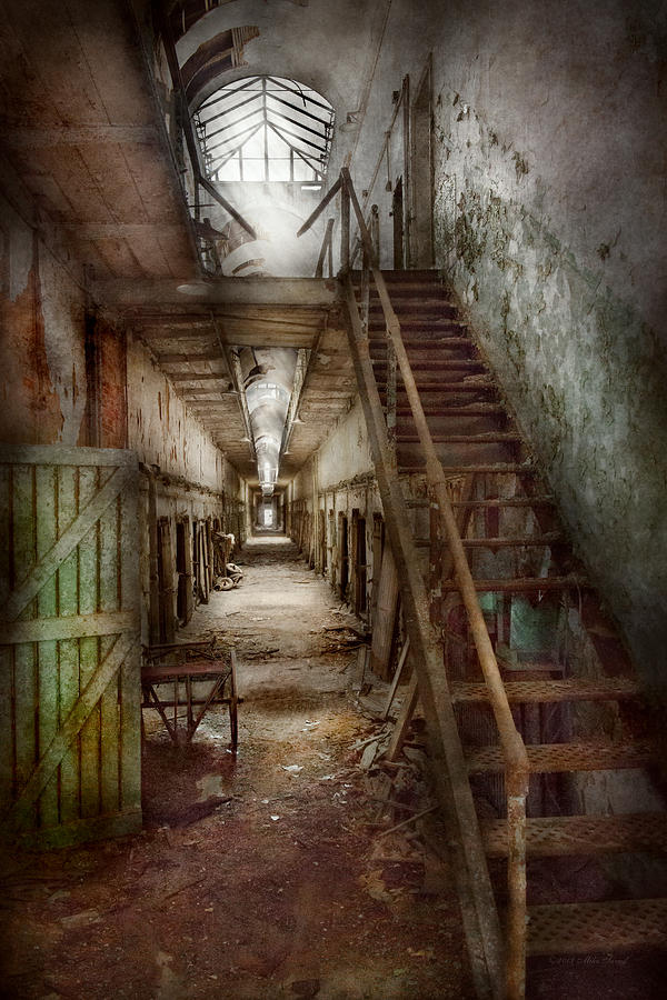 Jail Photograph - Jail - Eastern State Penitentiary - Down A Lonely Corridor by Mike Savad