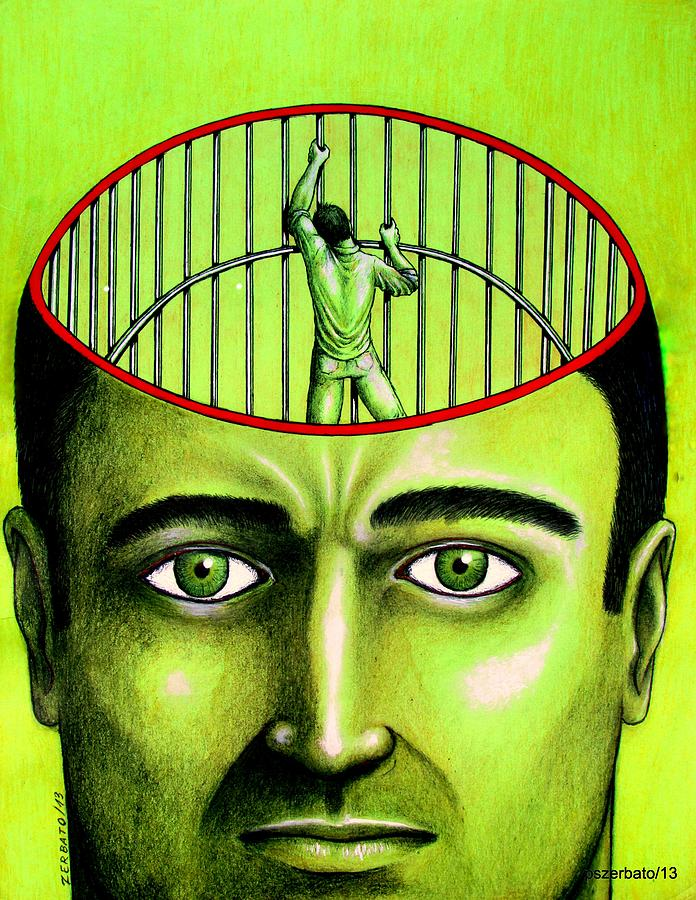 Closed Minded Digital Art - Jailer Of The Your Own Prison by Paulo Zerbato