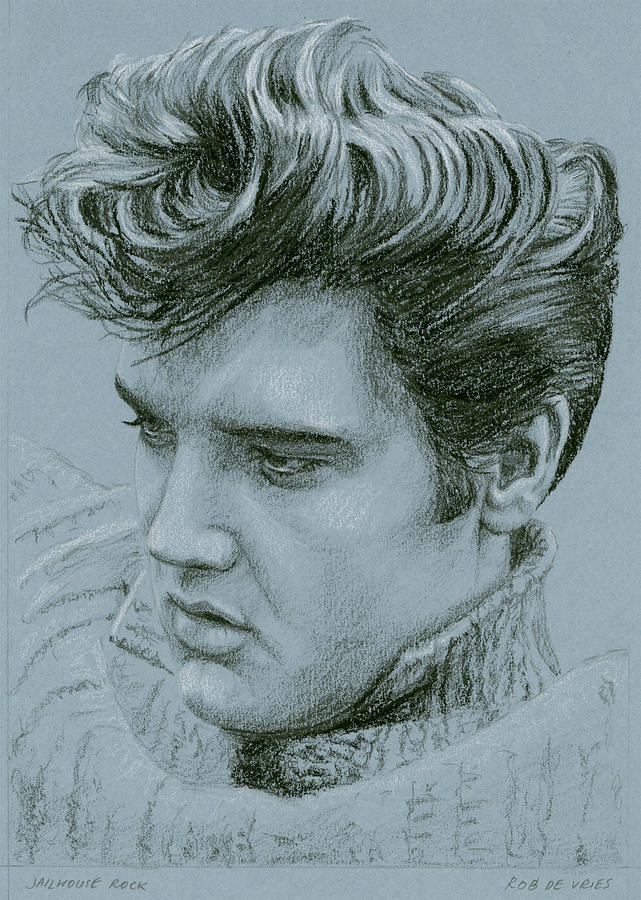Elvis Drawing - Jailhouse Rock by Rob De Vries