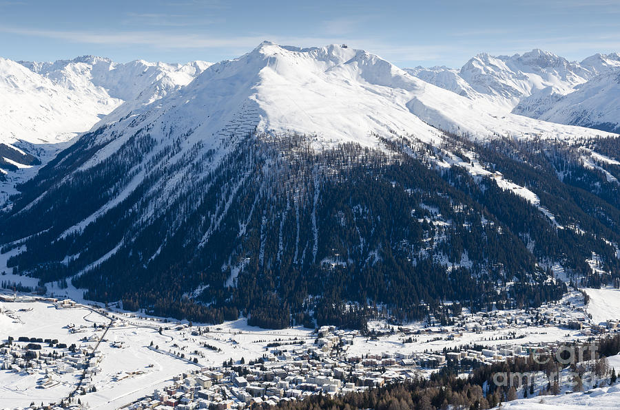 Jakobshorn Davos Mountains And Town Switzerland Photograph