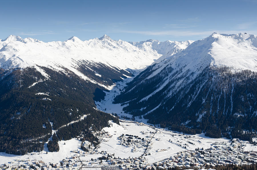 Jakobshorn Davos Town And Mountains Photograph