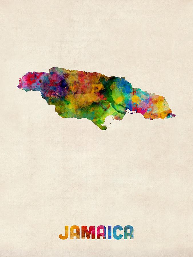 Watercolour Digital Art - Jamaica Watercolor Map by Michael Tompsett