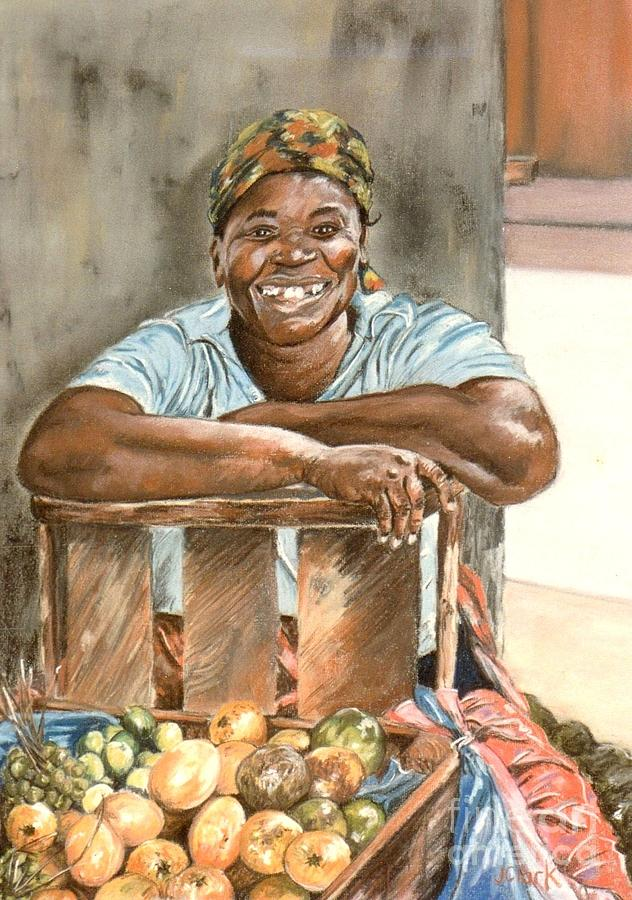 Jamaican Fruit Seller Painting By John Clark