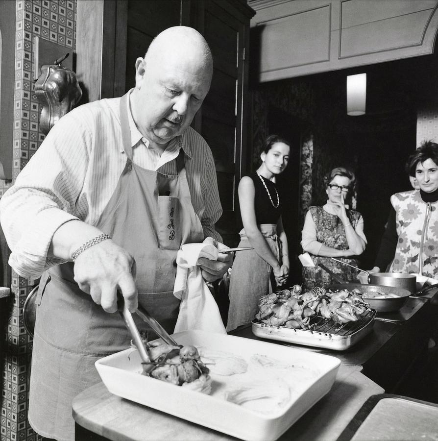 James Beard During Cooking Lesson Photograph by Ernst Beadle