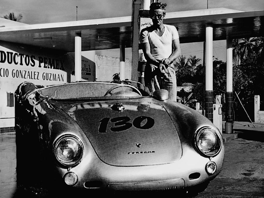 James Photograph - James Dean Filling His Spyder With Gas In Black And White by Doc Braham