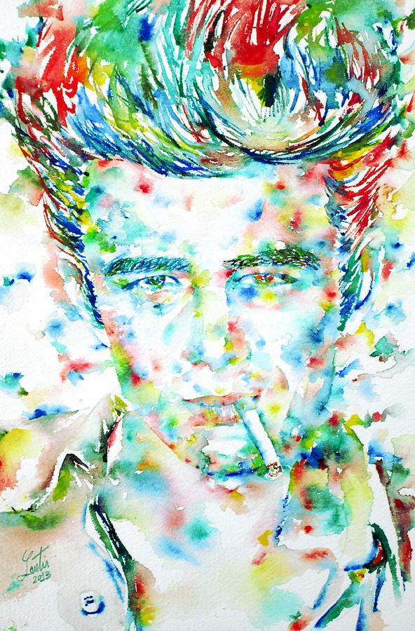 James Dean Painting - JAMES DEAN smoking cigarette - watercolor portarit by Fabrizio Cassetta