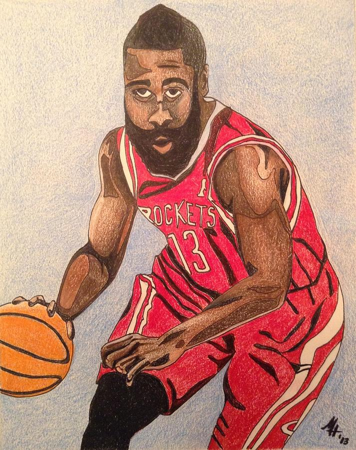 James Harden 2013 Drawing by Mark Hutton