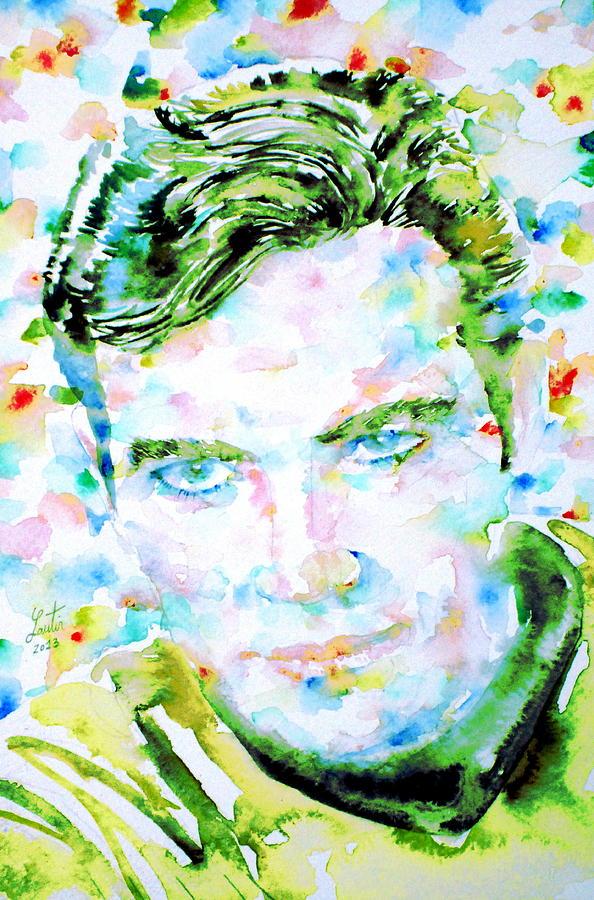 Kirk Painting - James T. Kirk - Watercolor Portrait by Fabrizio Cassetta