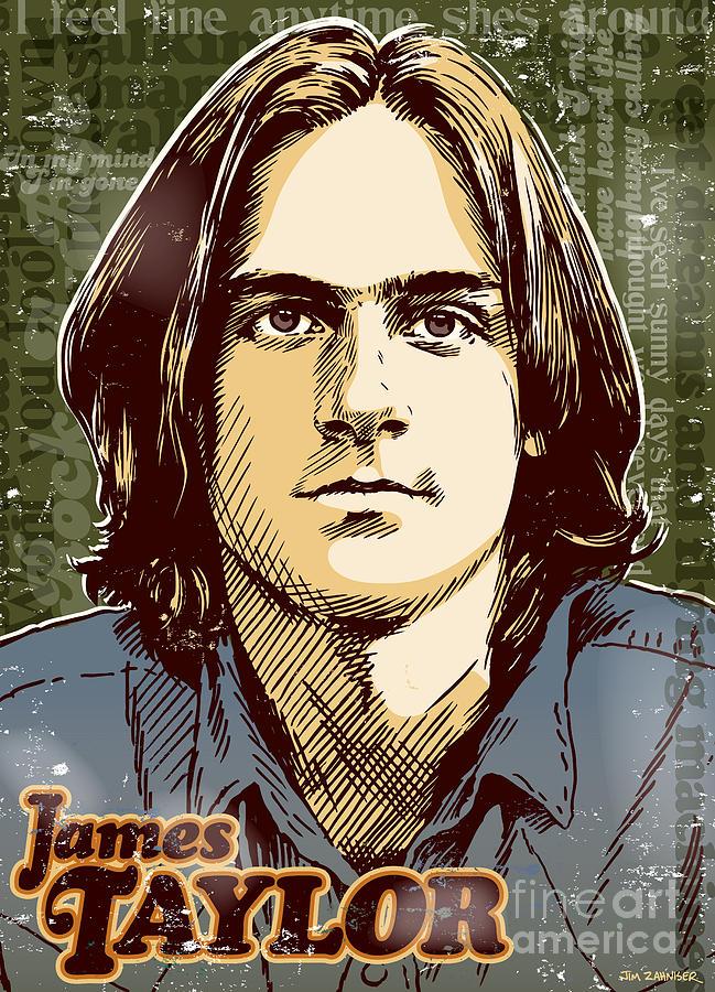 Music Digital Art - James Taylor Pop Art by Jim Zahniser