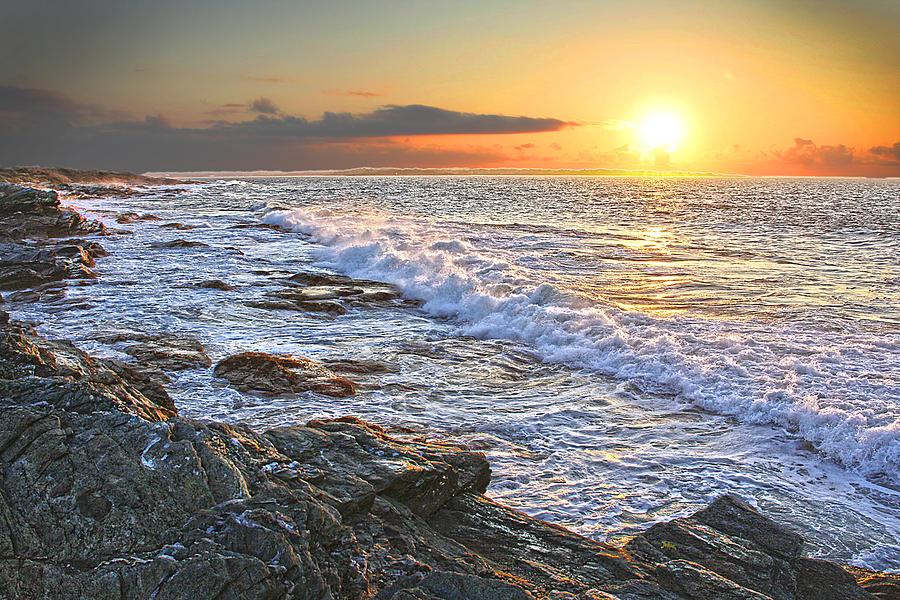 Blue Sky Photograph - Jamestown Surf At First Light by Richard Trahan