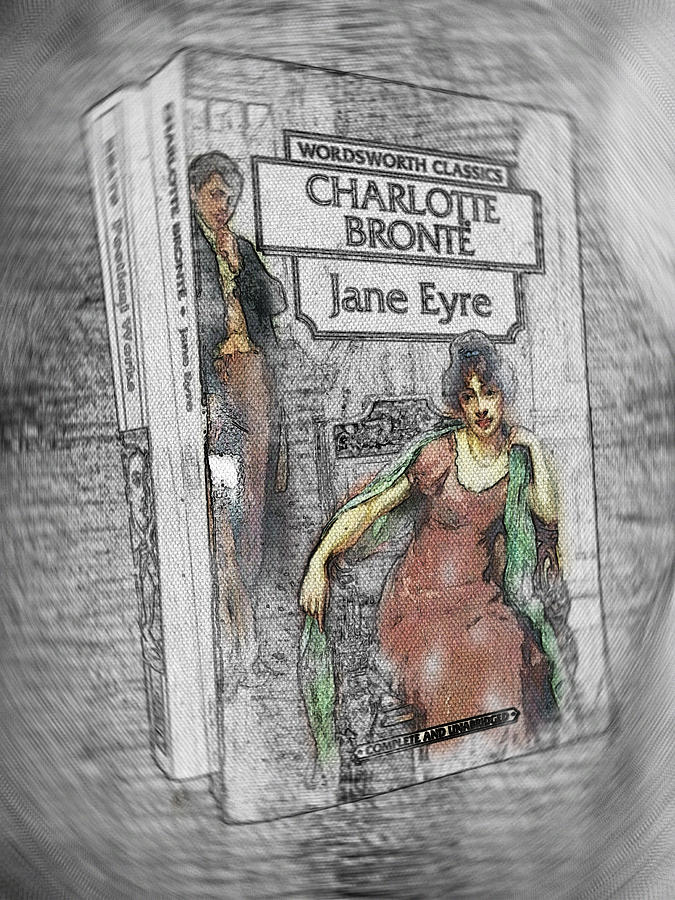 Jane Eyre Painting - Jane Eyre Book Abstract by Nik Helbig